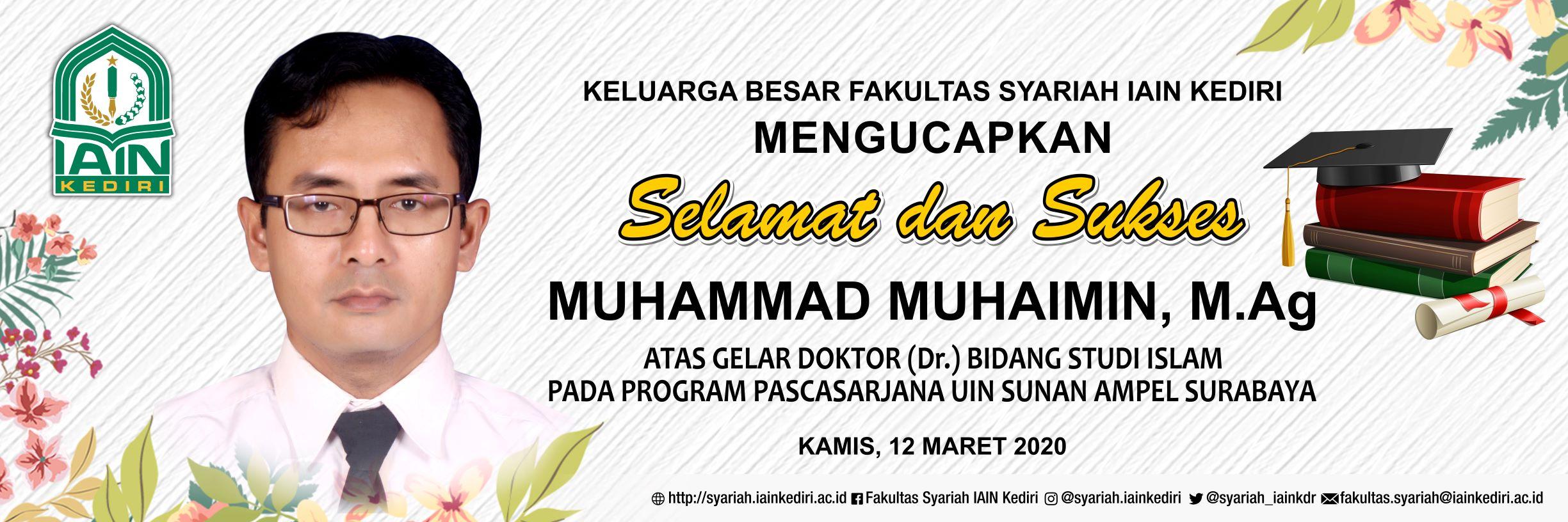 SELAMAT SUKSES DR. MUHAMAD MUHAIMIN, M.AG